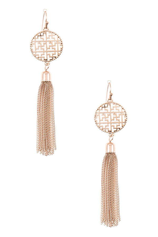 ROUND CUT OUT LINK CHAIN DANGLE EARRING