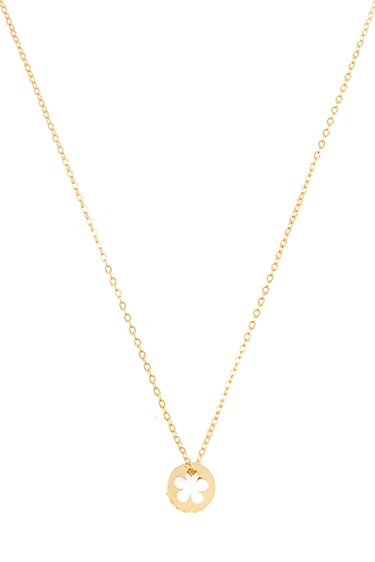 Clover Cut Out Disk Pendant CZ Side Pave Pendant Necklace
