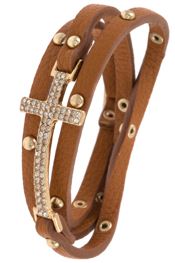 STUDDED BEAD FAUX LEATHER WRAP BRACELET