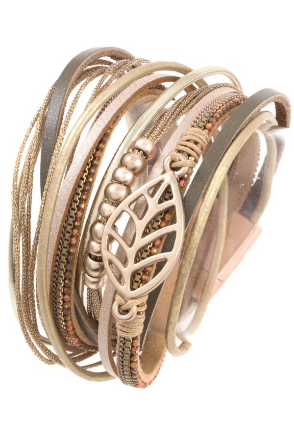 MULTI ROW ETCHED LEAF WRAP BRACELET