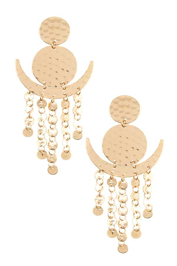 DANGLING DISK FASHION EARRING