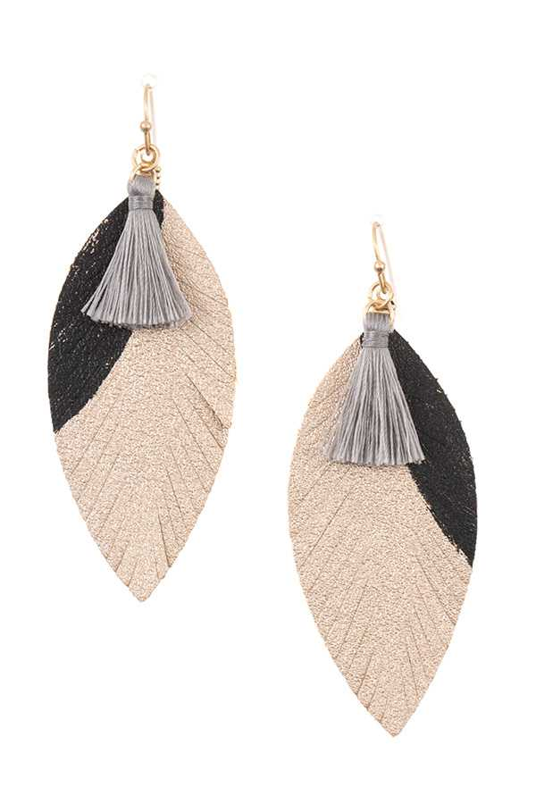 LEAF ACCENT TASSEL LINK DANGLE EARRING