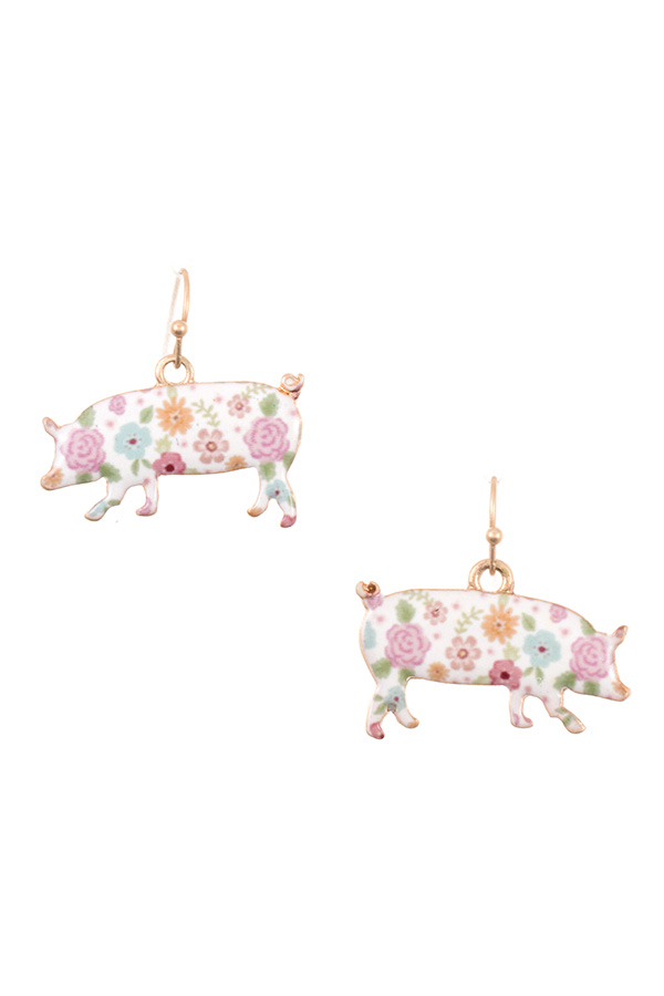 FLORAL PIG PATTERN DANGLE EARRING