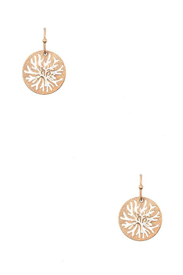 CORAL ACCENT ROUND DANGLE EARRING