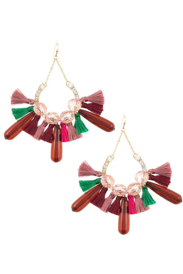 TASSEL AND GEM FAN OUT DANGLE EARRING
