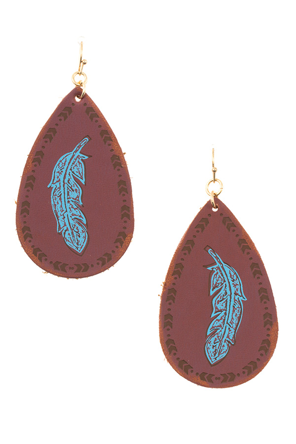 ETCHED FEATHER TEARDROP EARRING