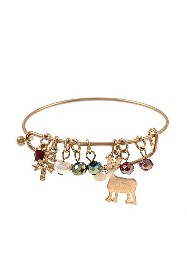 REINDEER BEAD CHARM BANGLE BRACELET