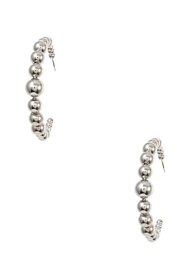 BALL BEAD SEMI HOOP EARRING