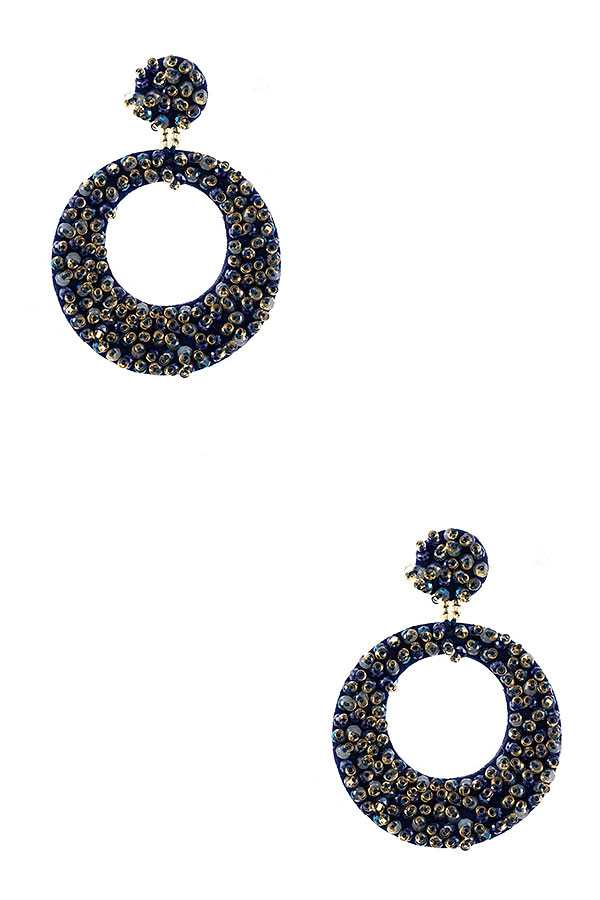 ROUND BEADED DROP EARRING
