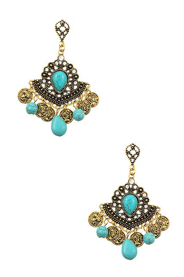 TIERED ORNATE GEMSTONE DANGLE EARRING