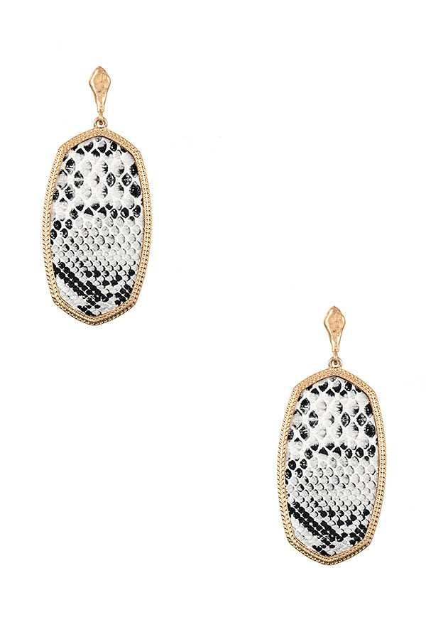 FAUX LEATHER OVAL FRAMED EARRING