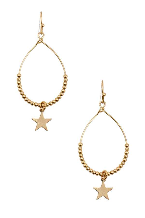 BEAD STAR DANGLE FISH HOOK EARRING