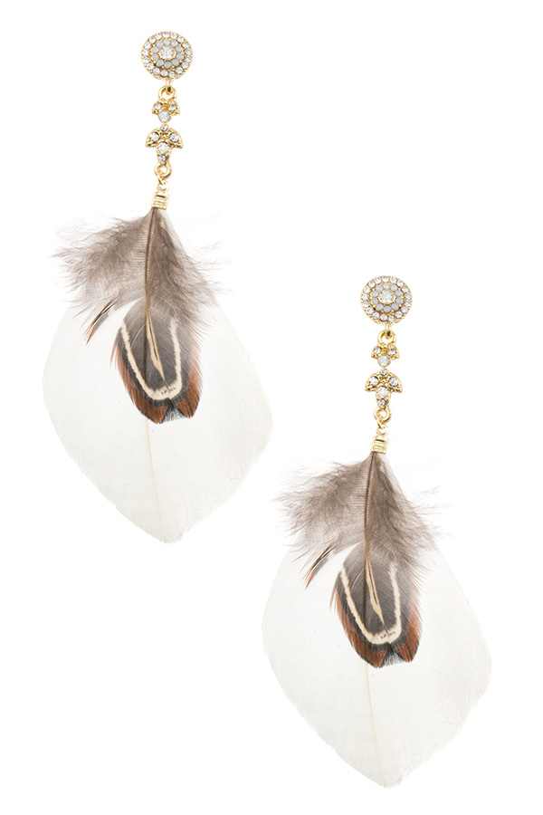 FEATHER DROP GEM ACCENT DANGLE EARRING