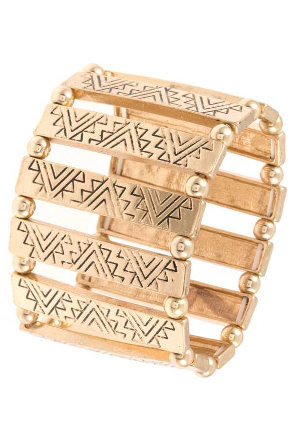 TRIBAL ETCHED PATTERN STRETCH BRACELET