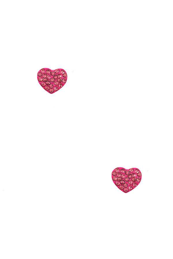 PAVED HEART POST EARRING