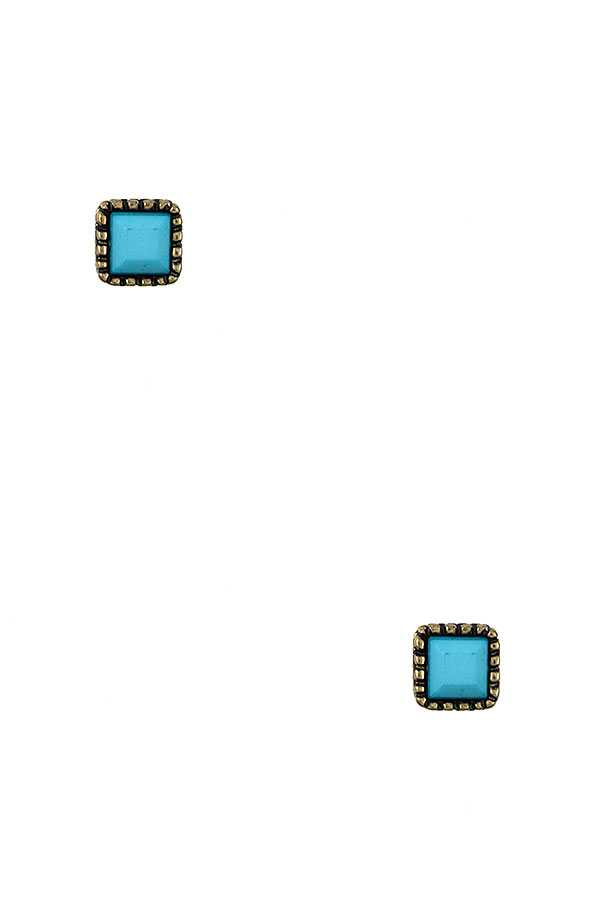 SQUARE FRAMED POST EARRING