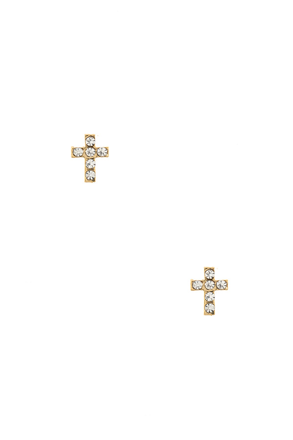 Cross Rhinestone Post Earring