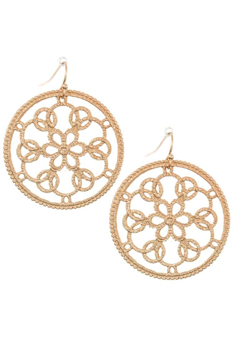 Floral Filigree Round Dangle Earring
