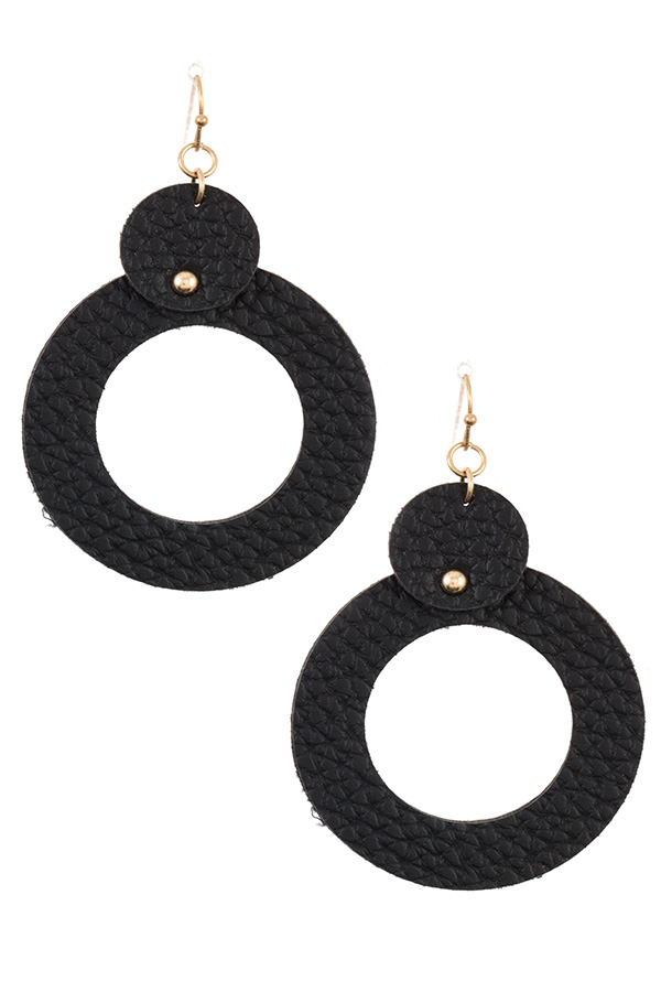 ROUND FAUX LEATHER DROP EARRING
