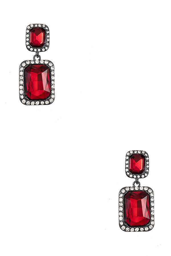 DOUBLE LINK RHINESTONE FRAMED EARRING