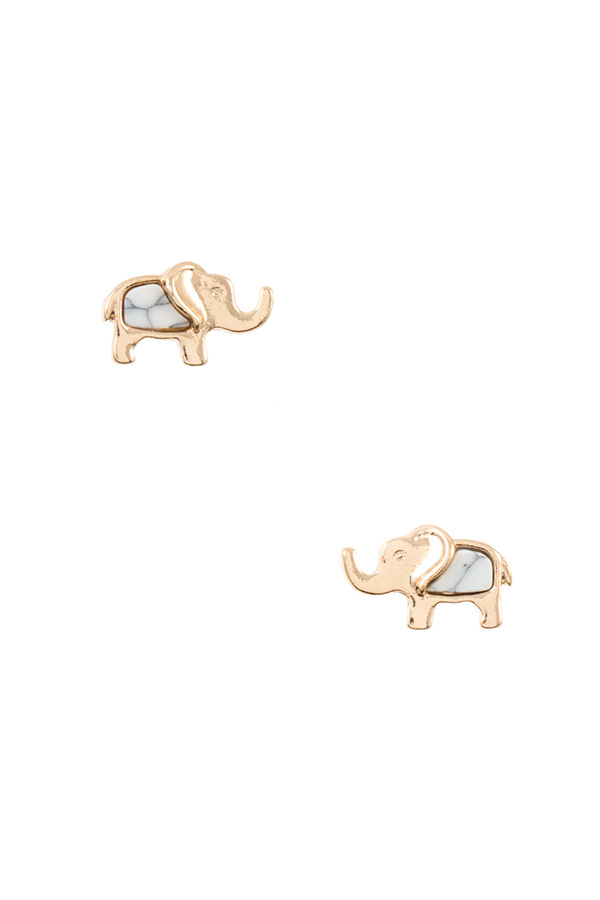 DAINTY ELEPHANT GEM ACCENT POST EARRING