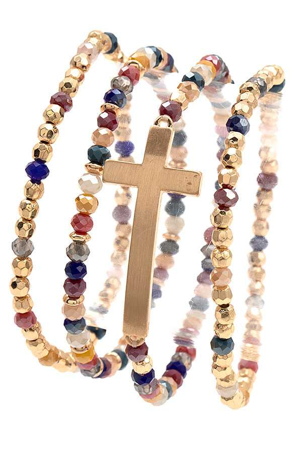 GLASS BEAD CROSS CHARM BRACELET
