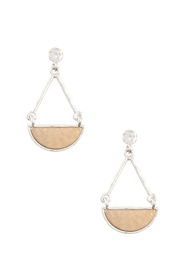 HAMMERED CRESCENT DANGLE DROP EARRING