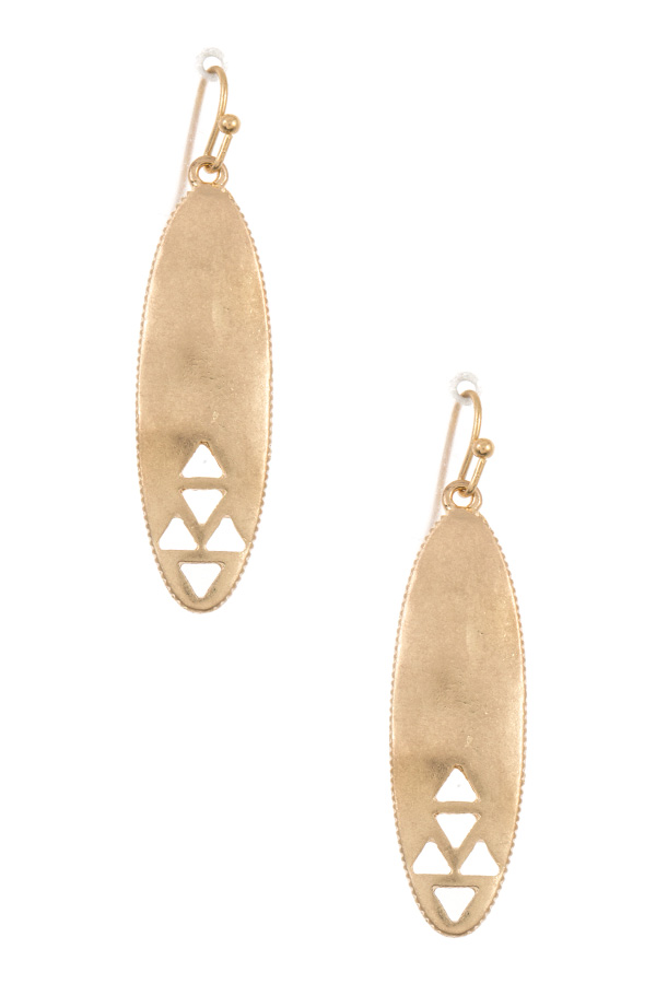 Triangle Cut Out Accent Oblong Drop Earring