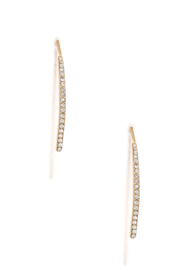 Aligned Rhinestone Curved Wire Earring