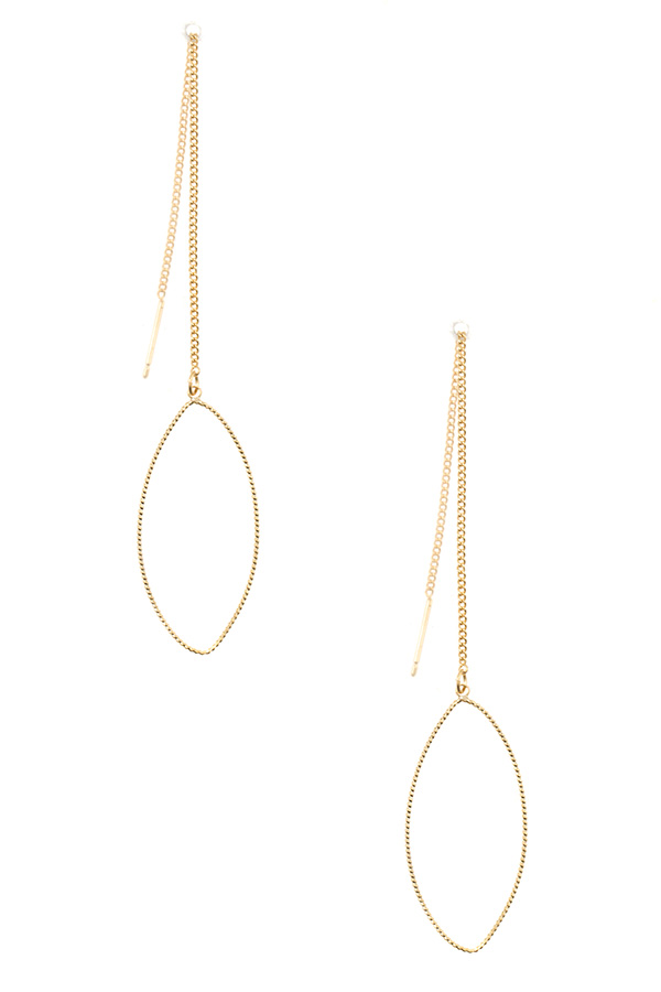 MARQUISE OBLONG CHAIN DANGLE EARRING