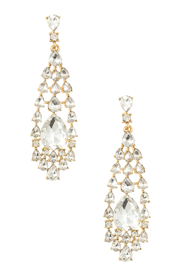 TIERED CRYSTAL LINK DANGLE EARRING