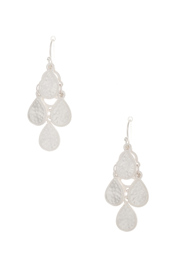 Small Hammered Teardrop Link Drop Dangle Earring