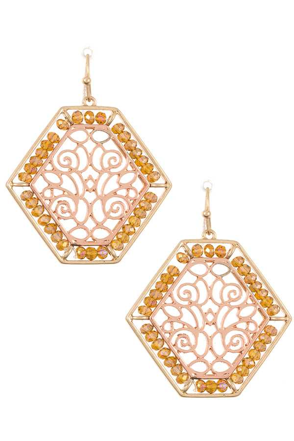 HEXAGON GLASS BEAD FILIGREE ACCENT EARRING