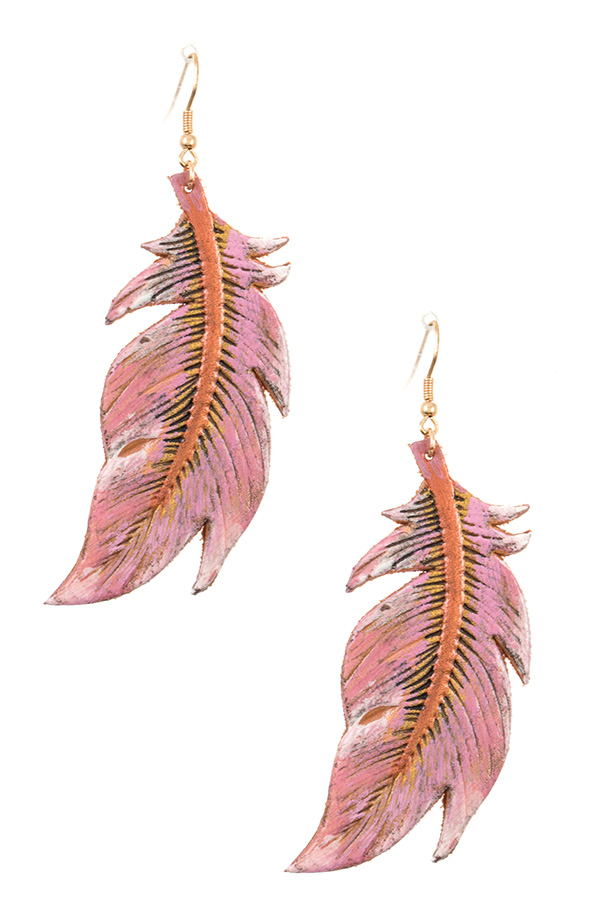 GENUINE LEATEHER FEATHER DANGLE EARRING