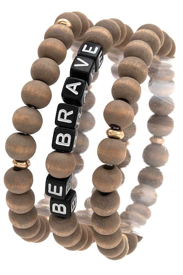 BE BRAVE WOODEN BEAD BRACELET