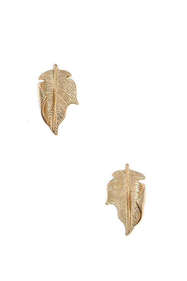 Curved Etched Leaf Post Earring