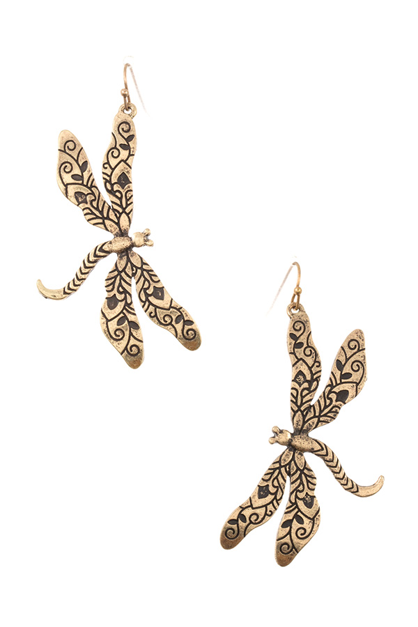 ETCHED DRAGONFLY EARRING