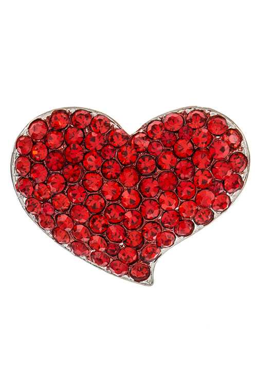 Curved Heart Shape Crystal Accent Detailed Brooch