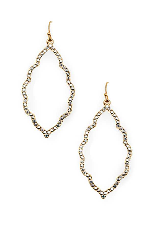 RHINESTONE PAVE GEOMETRIC DANGLE EARRING