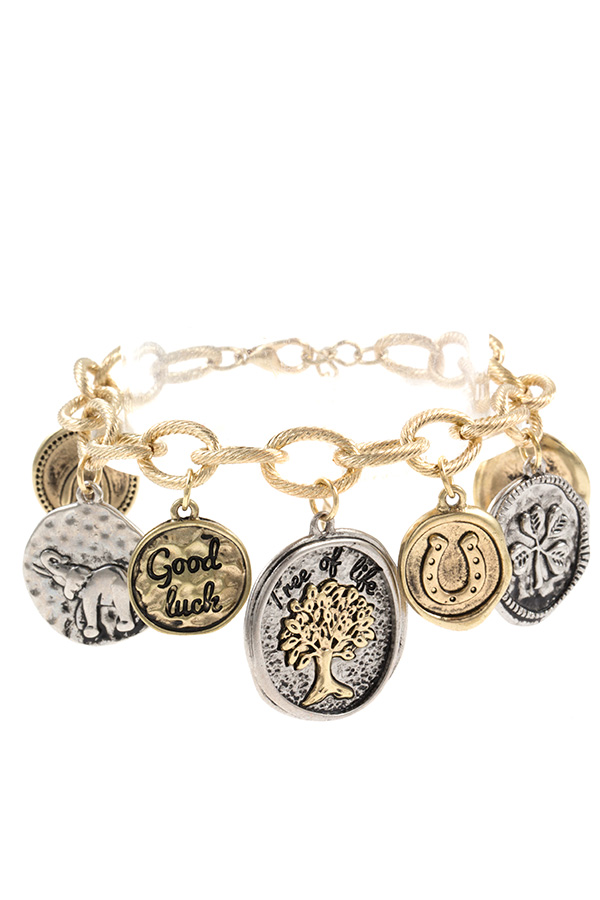 Hammered Coin Tree of Life Charm Dangle Chain Bracelet