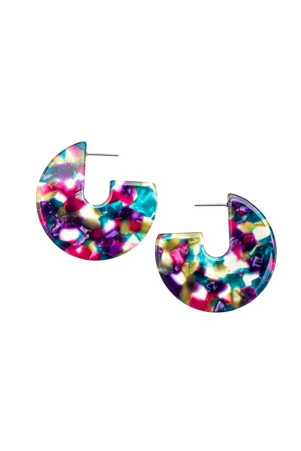 ACRYLIC MIX COLOR GEOMETRIC EARRING