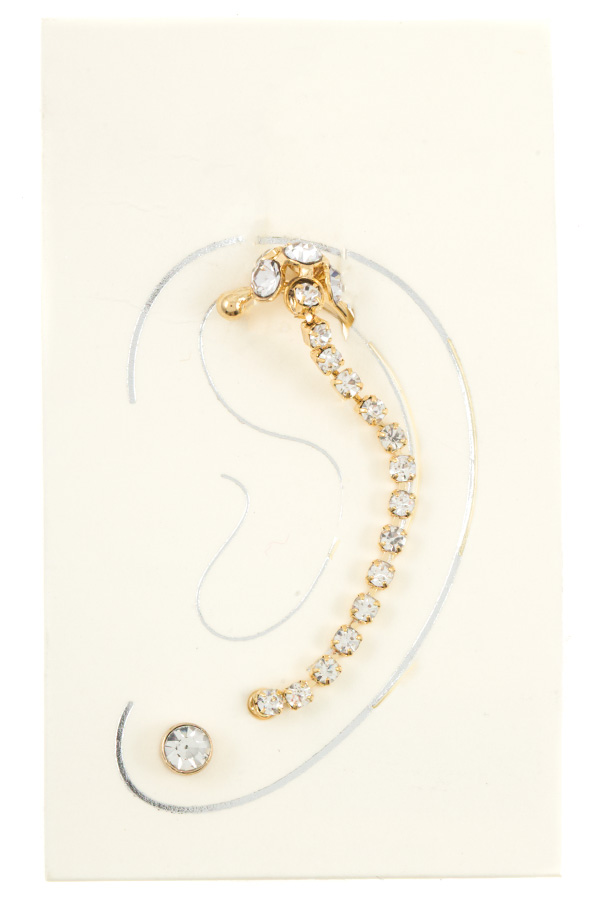 Gem Chain Accent Cuff Earring With Stud