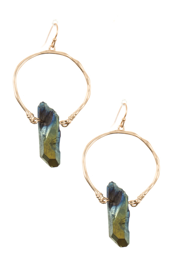 STONE ACCENT HOOP DANGLE EARRING