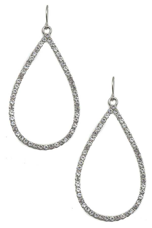 RHINESTONE PAVE TEARDROP DANGLE EARRING
