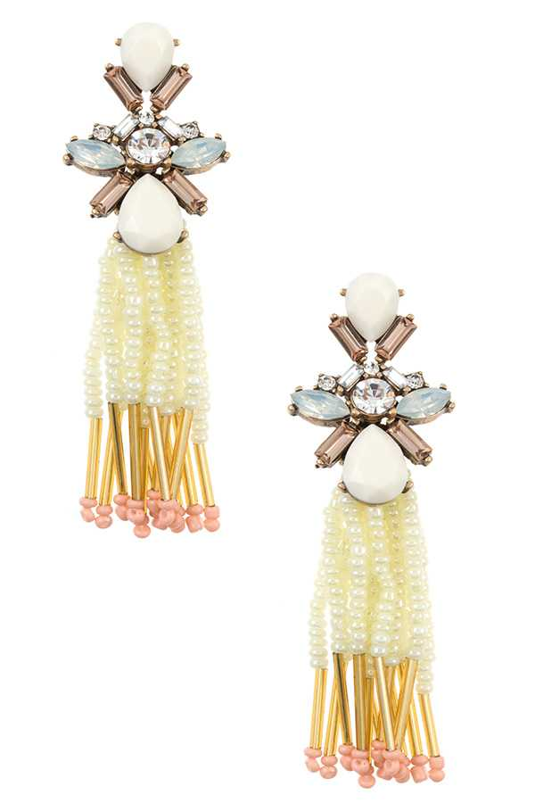 Mix Gem Ornate Beaded Tassel Drop Earring