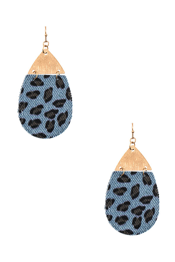 METAL LINK ANIMAL PRINT TEARDROP EARRING