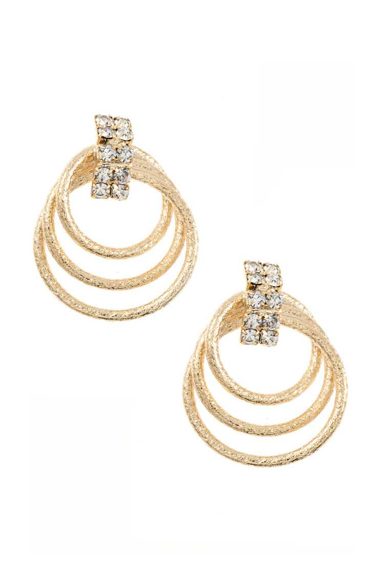 Multi Link Ring Rhinestone Accent Post Earring