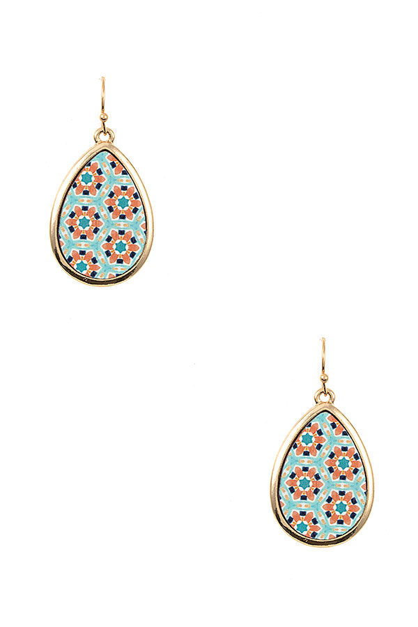 TEARDROP MIX PRINT DANGLE EARRING