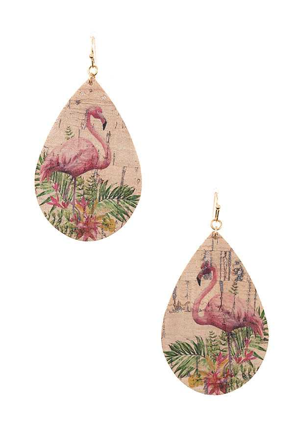 FLAMINGO CORK DETAIL TEARDROP EARRING