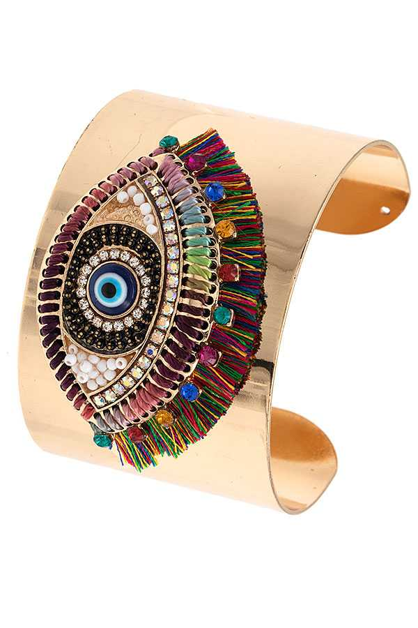 BEADED JEWEL EVIL EYE ACCENT CUFF BRACELET